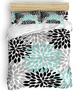 Home 4-Piece Bedding Set Duvet Cover Set King Size Dahlia Pinnata Floral Pattern Black Gray Green Decorative Duvet Cover, Flat Sheet, Pillow Case for Children/Adults/Teens