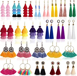 Outee 24 Pairs Tassel Earrings Layered Long Thread Ball Dangle Earrings Bohemian Tiered Tassel Drop Colorful Earrings Fashion Jewelry Multiple Style for Women Birthday Party Gifts