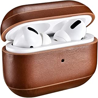 Genuine Leather Earphone Case for Apple Airpods Pro . Shockproof Cover For AirPods Pro Vintage Earphone Protective Case (Brown)