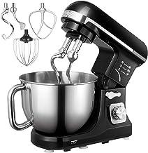 Küchenmaschine, Aicok 5L Weniges Geräusch Knetmaschine mit Doppelten Knethaken, Rührbesen, Knethaken, Schlagbesen, Spritzschutz, 6 Geschwindigkeit mit Edelstahlschüssel Teigmaschin schwarz