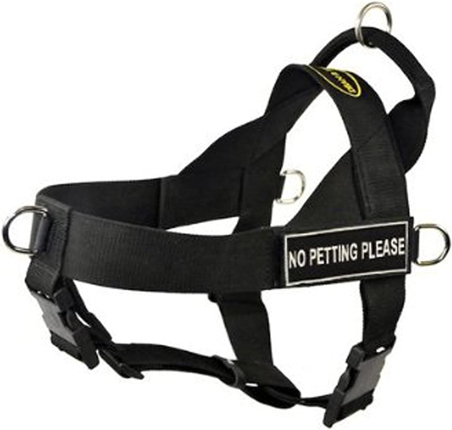 DT Universal No Pull Dog Harness, No Petting Please, Black, Medium  Fits Girth Size  66cm to 81cm