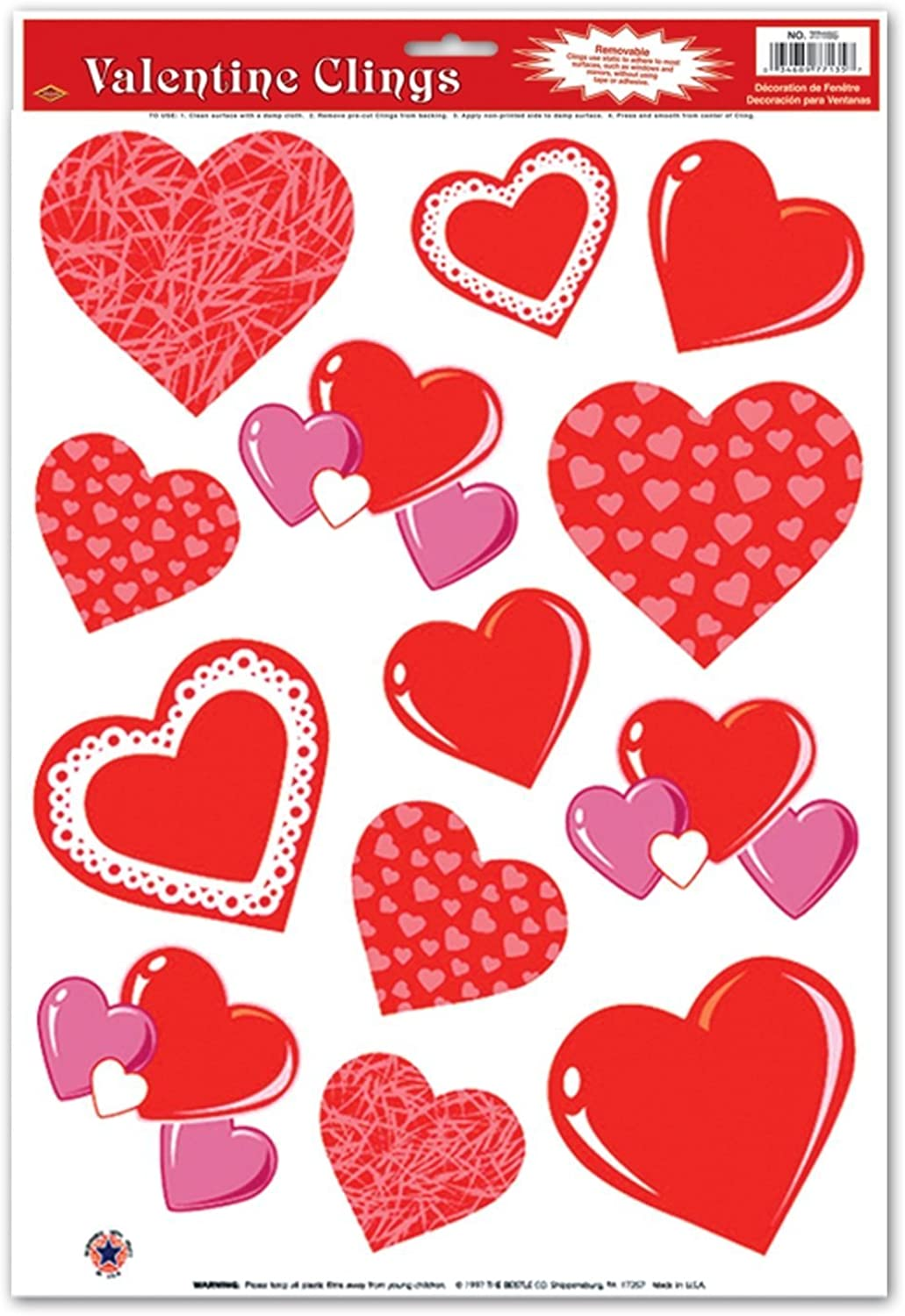 Beistle Heart Clings 12  x 17  Sheet Party Accessory  Pack of 12