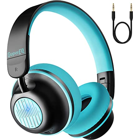 OneOdio SuperEQ S2 Bluetooth Active Noise Cancelling Headphones, Wired and Wireless On Ear Headphones with CVC 8.0, Hi-Fi Stereo Deep Bass 25H Playtime for Kids Adults Travel Sports Office-Blue