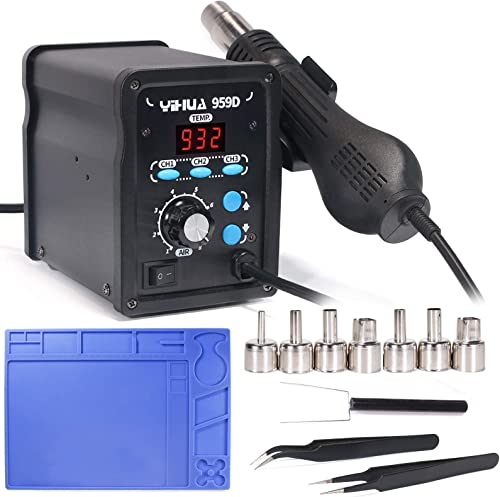 discount YIHUA 959D Professional Hot Air Rework Station discount bundle with #2300 Hot Air Nozzles with Work Mat, Tweezers, and Accessories discount (13 Items) outlet online sale