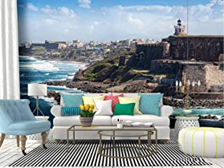 el Morro Castle in Old san Juan, Puerto rico Puerto ricos and Canvas Print Wallpaper Wall Mural Self Adhesive Peel & Stick Wallpaper Home Craft Wall Decal Wall Poster Sticker for Living Room
