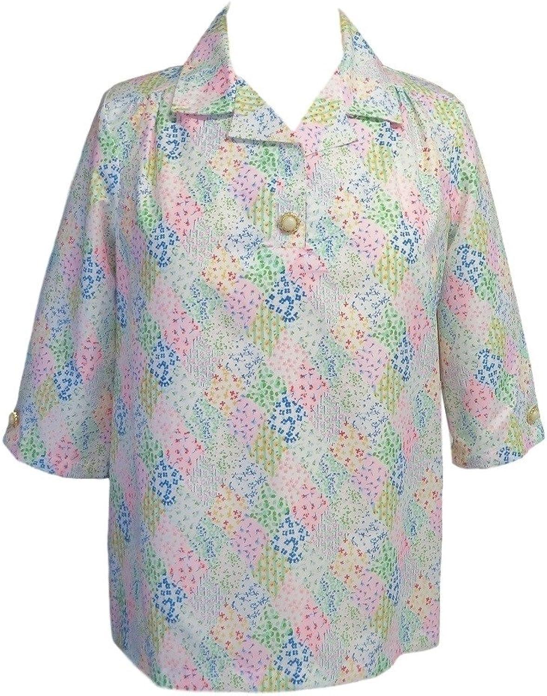 Womens Adaptive Pastel Quilt Print Shoulder Snap Blouse