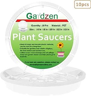 gardzen Heavy Duty Clear Plastic Plant Saucers, Flower Pot Tray - Excellent for Indoor & Outdoor Plants (13-Inch, 10-Pack)