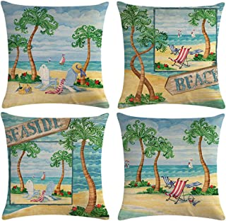 "ULOVE LOVE YOURSELF Beach Throw Pillow Covers Seaside Tropical Coconut Palm Beach Chair Summer Decorative Cushion Covers Pillowcase 18""×18"",4Pack (Seaside)"