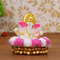 eCraftIndia Lord Ganesha Idol on Decorative Handcrafted Plate with Pink and White Flowers