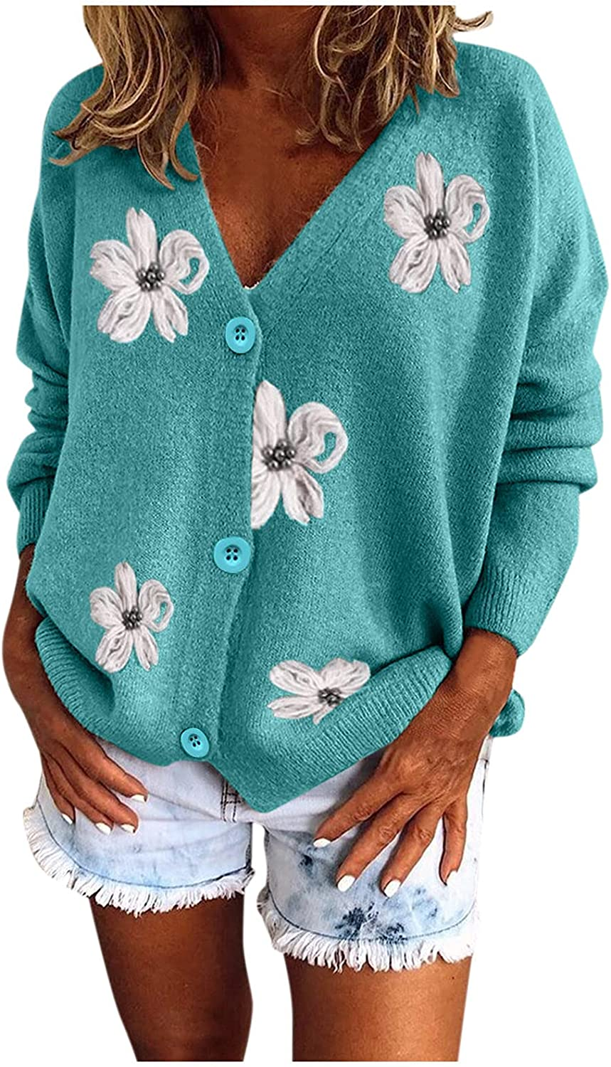 YfiDSJFGJ Cardigan Max 66% OFF Sweaters for Women Knitted Long Sleeve OFFicial store V-Neck