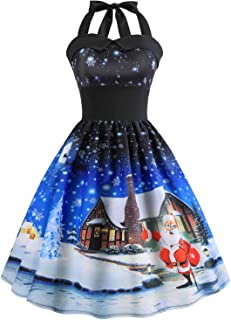GBD Christmas Dress Womens Vintage Halter Dress A Line 1950s Xmas Santa Cat Cocktail Swing Tea Dance Party Dress Costume