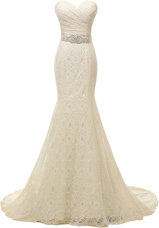 Fanciest Women's Sweetheart Beaded Lace Wedding Dresses Mermaid Bridal Gowns White