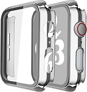 Misxi 2 Pack Hard PC Case with Tempered Glass Screen Protector Compatible with Apple Watch Series 6 SE Series 5 Series 4 44mm, 1 Sliver + 1 Transparent