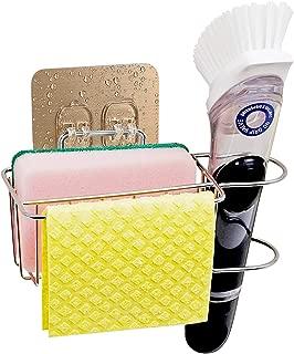 Bogeer Sponge and Brush Holder for Kitchen Sink Sink Caddy Organizer for Sponge, Brush and Dishcloth Sponge Holder Dishwashing Holder Drainer Rack Sponge Holder, Stainless Steel, Reusable Adhesive