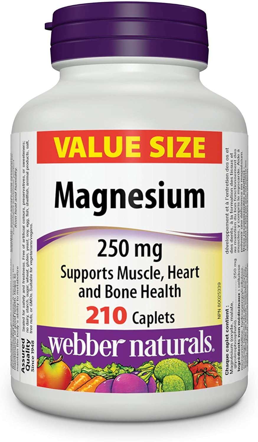 Webber Naturals Large special price !! Magnesium 1 year warranty 250 mg Size 210 caplets Value