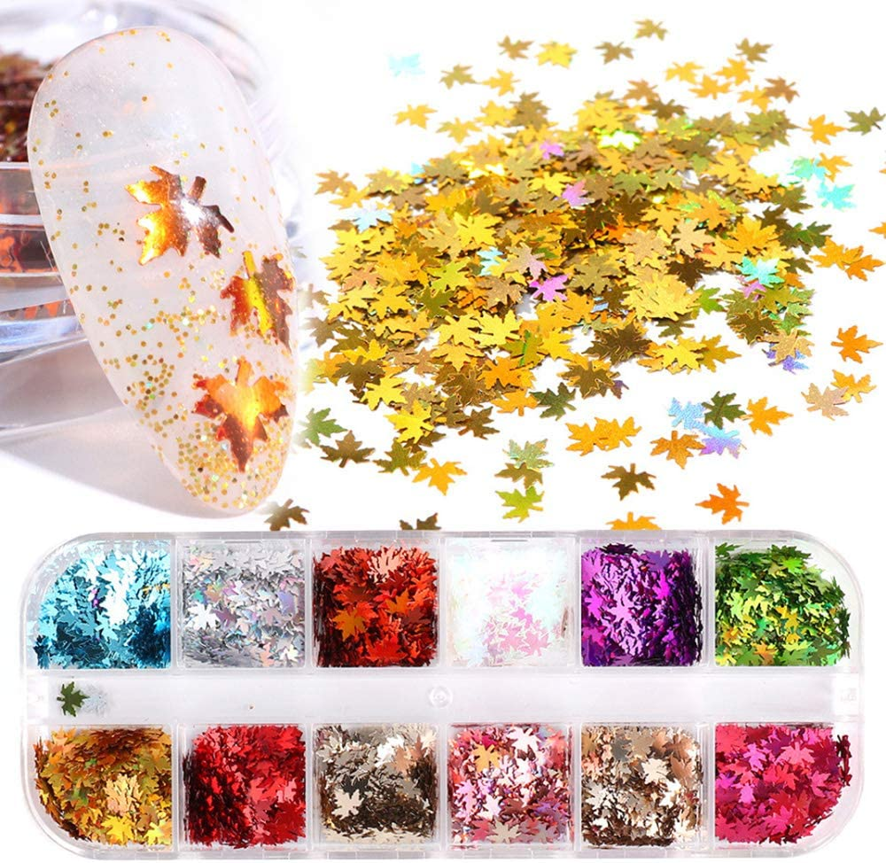 Maple Leaf Ultra-Cheap Deals Nail Art Glitter Max 44% OFF Fall Gold Sequins Stickers