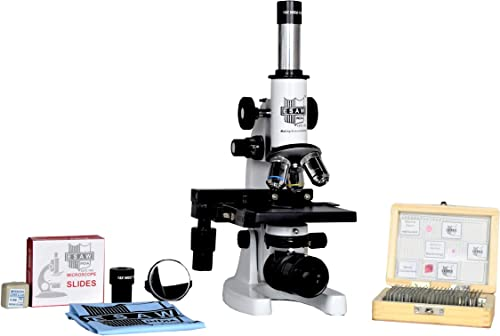Esaw Medical Compound Student Microscope with 25 Prepared Glass Slides