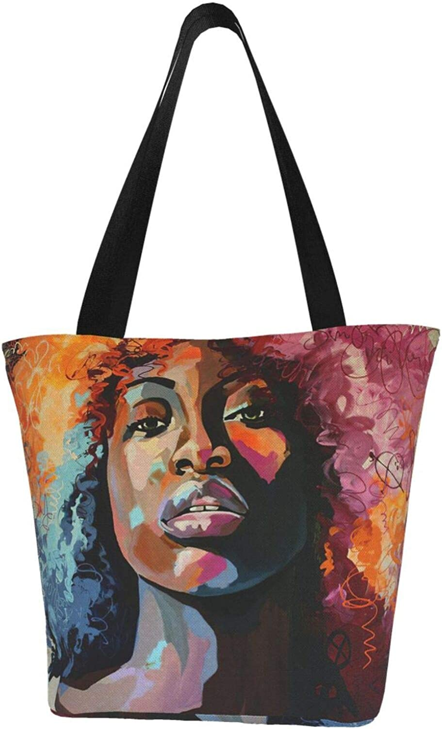 African Woman With Coloured Hair Afro Themed Printed Women Canvas Handbag Zipper Shoulder Bag Work Booksbag Tote Purse Leisure Hobo Bag For Shopping