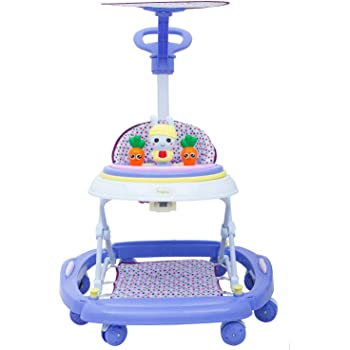 GoodLuck Baybee Round Baby Walker for Kids | Music Function with Canopy 3 Position Height Adjustable kis Walker,Activity Walker for Babies/Childs (6 Months to 2 Years) (Purple)