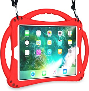 AVAWO New iPad 9.7 2018/2017 Case - Shockproof Silicone Handle Stand Kids Case with Shoulder Strap for Apple New iPad 9.7 inch 5th/6th Latest Generation and iPad Air - Red