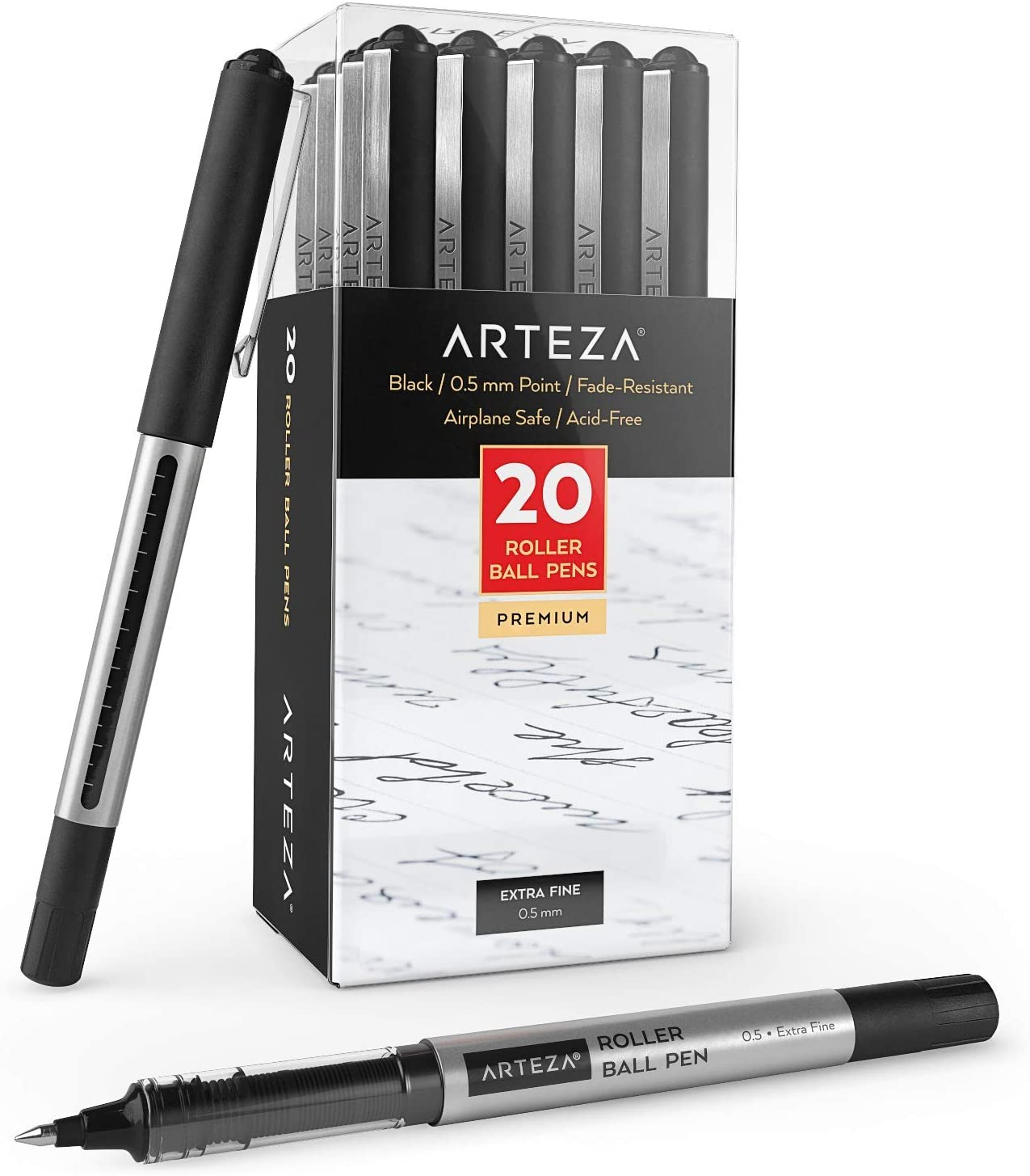 Arteza Rollerball Pens, Pack of 20, 0.5mm Blue Liquid Ink Pens for Bullet Journaling, Fine Point Rollerball, Office Supplies for Writing, Taking Notes & Sketching: Office Products