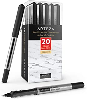 Arteza Rollerball Pens, Pack of 20, 0.5mm Black Liquid Ink Pens for Bullet Journaling, Fine Point Rollerball for Writing, ...