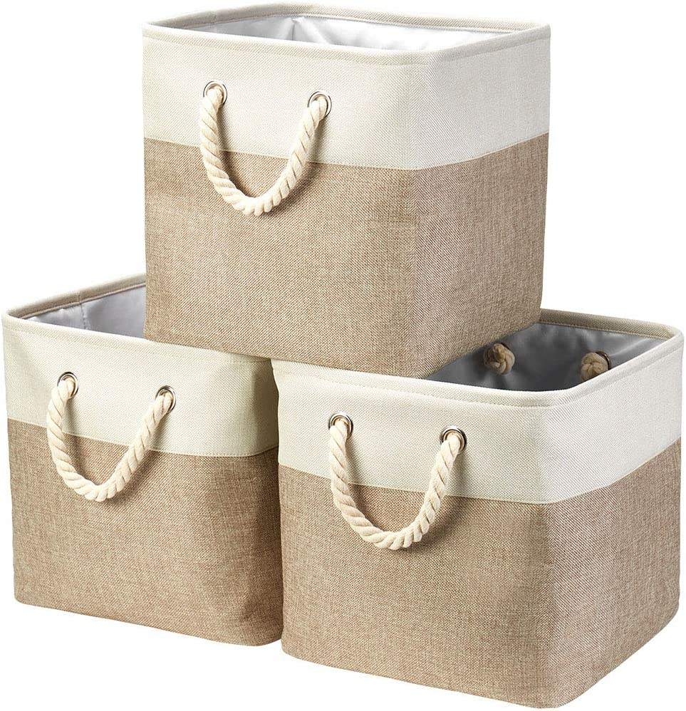 i BKGOO 3Pack Max 47% OFF Large Foldable Ranking TOP12 Sturd Bins,Collapsible Storage
