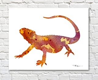 Bearded Dragon Lizard Abstract Watercolor Painting 11 X 14 Art Print by Artist DJ Rogers