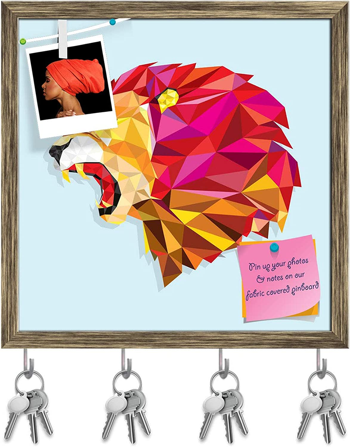 Artzfolio Angry Lion with Geometric Pattern Key Holder Hooks   Notice Pin Board   Antique golden Frame 20 X 20Inch