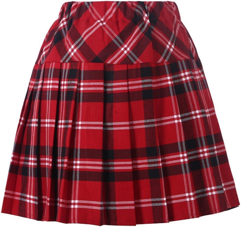 Beautifulfashionlife Women`s Plaid Elasticated Check Pleated School Skirt 15 colors 5 Sizes