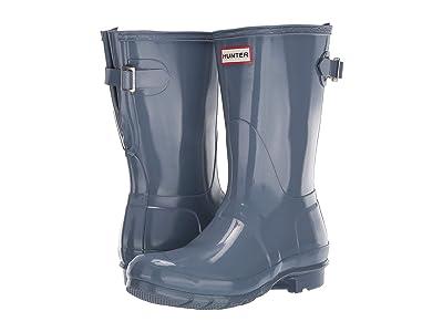 Hunter Original Back Adjustable Short Gloss Rain Boots (Gull Grey) Women