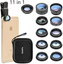 Cell Phone Camera Lens Kit,11 in 1 Super Wide Angle+ Macro+ Fisheye Lens +Telephoto+ CPL+3/6 Kaleidoscope+Starburst/Radial/Soft/Flow Filter Lens Compatible for iPhone X/8/7/6s/6 Plus, Samsung,Android