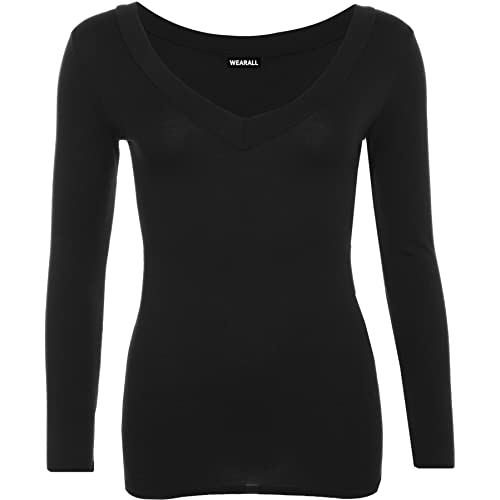 fd242e29 WearAll New Ladies V Neck Stretch Womens Long Sleeve Top 8-14