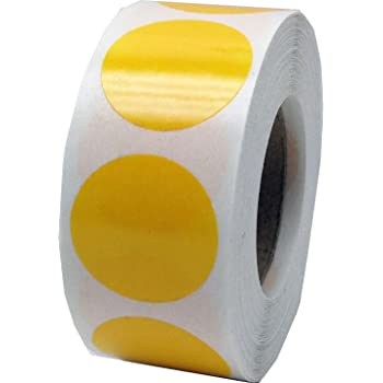 Yellow Color Coding Labels for Organizing Inventory 4 Inch Round Circle Dots 500 Total Adhesive Stickers On A Roll