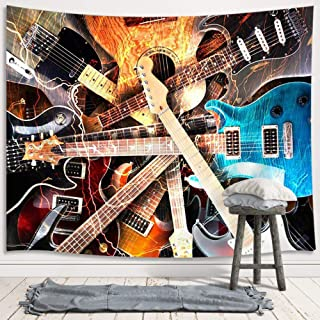 Music Tapestry Wall Hanging, Guitar Musical Instrument Rock Style Lover Premium Home Art Wall Decor, Upgrade Tapestries for Bedroom Living Room College Dorm 71X60 Inches
