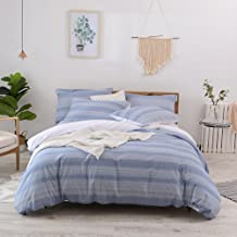 Lausonhouse Cotton Quilt Cover Set,100% Cotton Yarn Dyed Stripe Doona Cover and Pillowcases, 3pcs Bedding Set- Queen Set