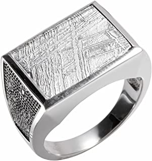 Creations Sterling Silver Muonionalusta Meteorite Galaxy Ring