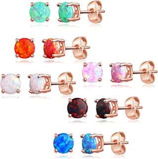 Luckeyui 6 Pairs Rose Gold Plated Synthetic Opal 6mm Round Stud Earrings Set for Women,White/Blue/Black