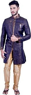 Denim Blue and Gold Indian Wedding Indo-Western Sherwani for Men