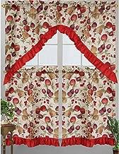 Kashi Home Diana Kitchen Curtain Swag Set, Apple, Plum, Pear & Cherry Printed Design