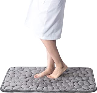 Bedsure Memory Foam Bath Mat,Non Slip Cobblestone Bathroom Rugs,Absorbent Grey Bath Mats for Bathroom(20x30 inches Grey)