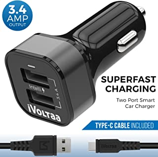 iVoltaa 3.4A Dual Port Car Charger with Type-C Cable - Black