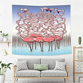 Wall Tapestry Wall Hanging Fun Five Cute Flamingos Maze Game Joyful Animal Cartoon Reed Bed Water Coral Violet Blue Light Wall Art Decoration for Bedroom Living Room Dorm, Window Curtain Picnic Mat