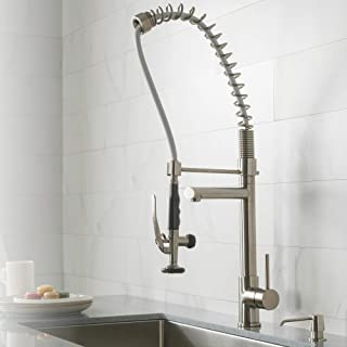 Kraus Single Handle Pull Down Kitchen Faucet Commercial Style Pre-rinse in Stainless Steel