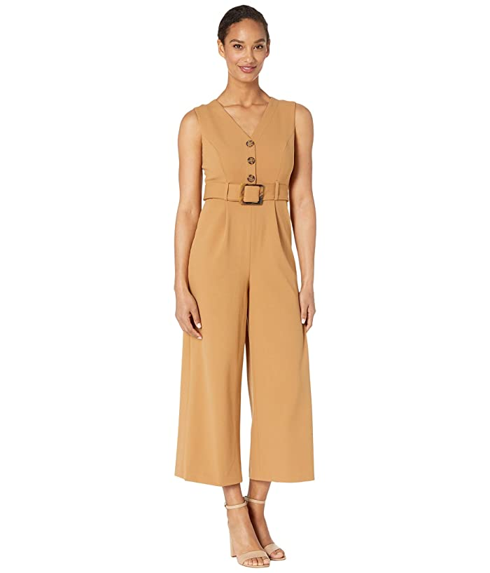 Belted Jumpsuit with Buttons On Bodice (Luggage) Women's Jumpsuit & Rompers One Piece
