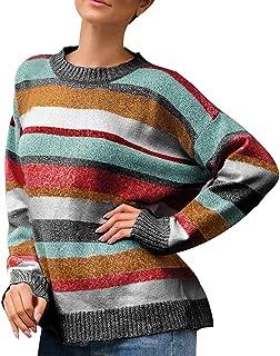 LEKODE Sweater Women's Crewneck Striped Long Sleeve Knit