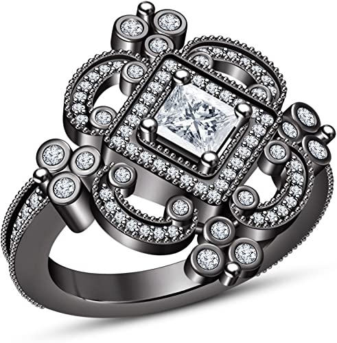 Vorra Fashion Damen Mit Solitaire-Ring mit Akzenten mit Brillanten Schnitt, Weiß, CZ