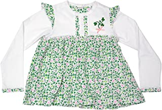 Traditional Craft White Floral Print Shamrock Kids Long Sleeve Baby Dress