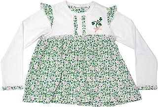White Floral Print Shamrock Kids Long Sleeve Baby Dress