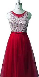 Dresses Bling Tulle Evening Dresses Prom Party Crystal Pearls Floor Length